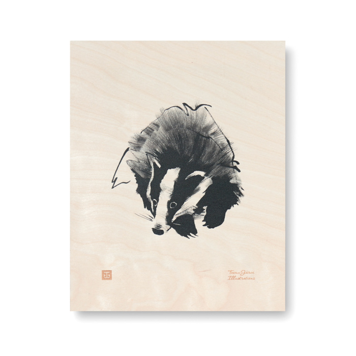 badger plywood art print poster by teemu jarvi