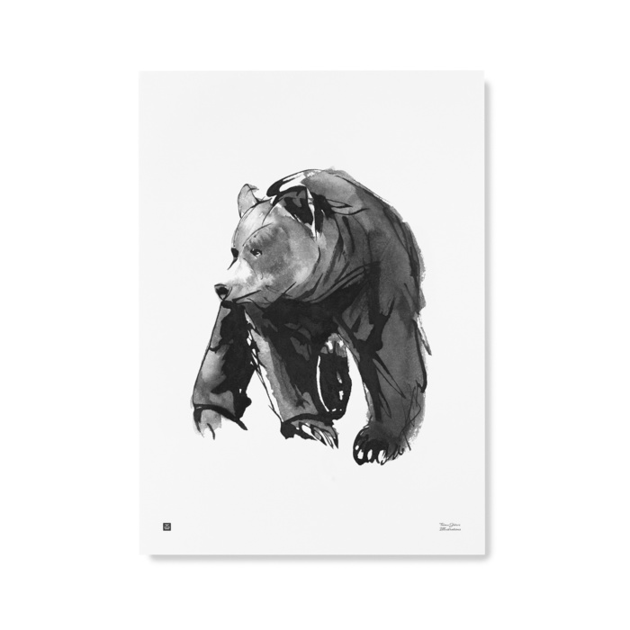 Gentle Bear wall art print - black & white poster - Teemu Järvi Illustrations