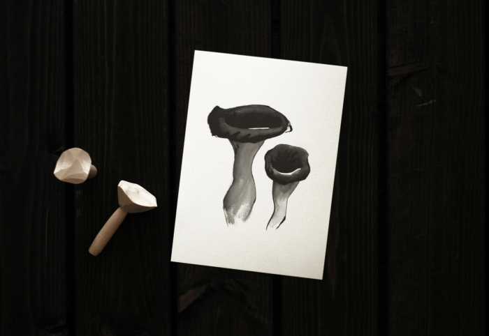 Black trumpet mushroom card art print by teemu jarvi