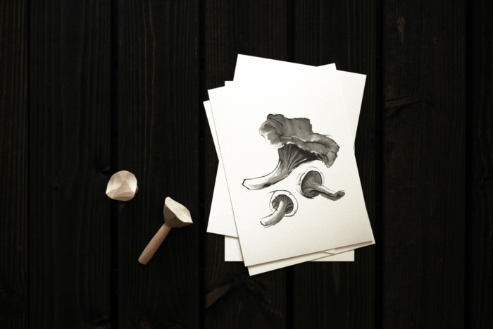Chantarelle mushroom card art print by teemu jarvi
