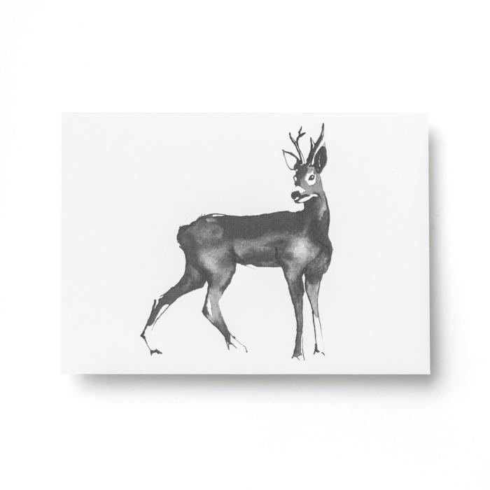 deer forest greetings postcard art print by teemu jarvi