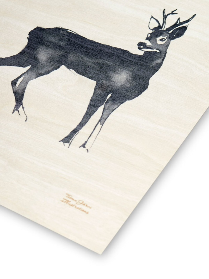 deer plywood art print poster by teemu jarvi