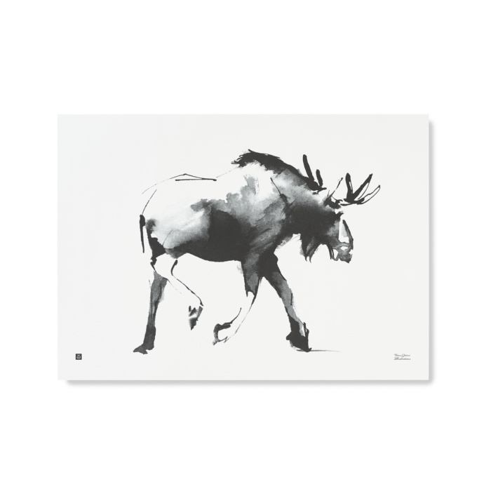 elk art print by teemu jarvi - black and white