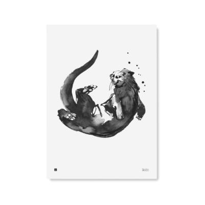 otter art print poster by teemu jarvi