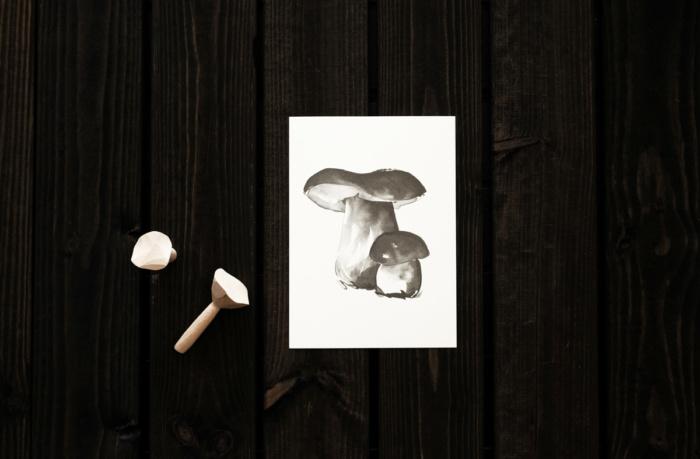Porcini mushroom card art print by teemu jarvi