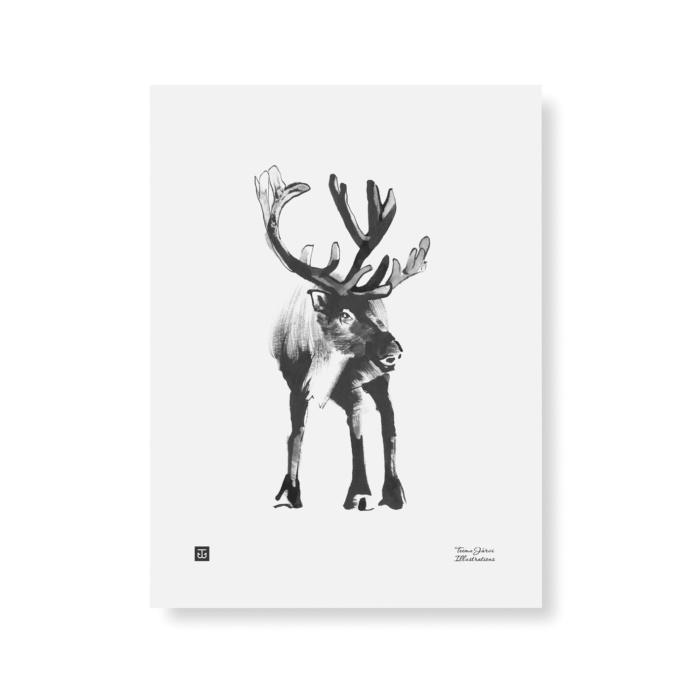reindeer art print poster by teemu jarvi