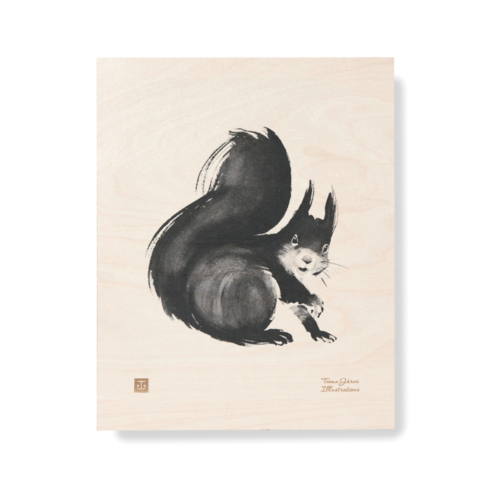 squirrel plywood art print poster by teemu jarvi