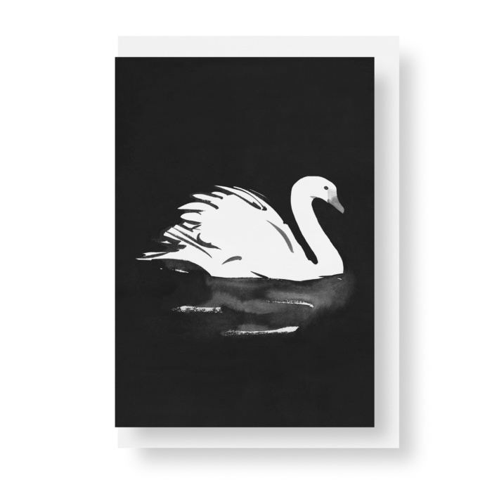 swan postcard art print