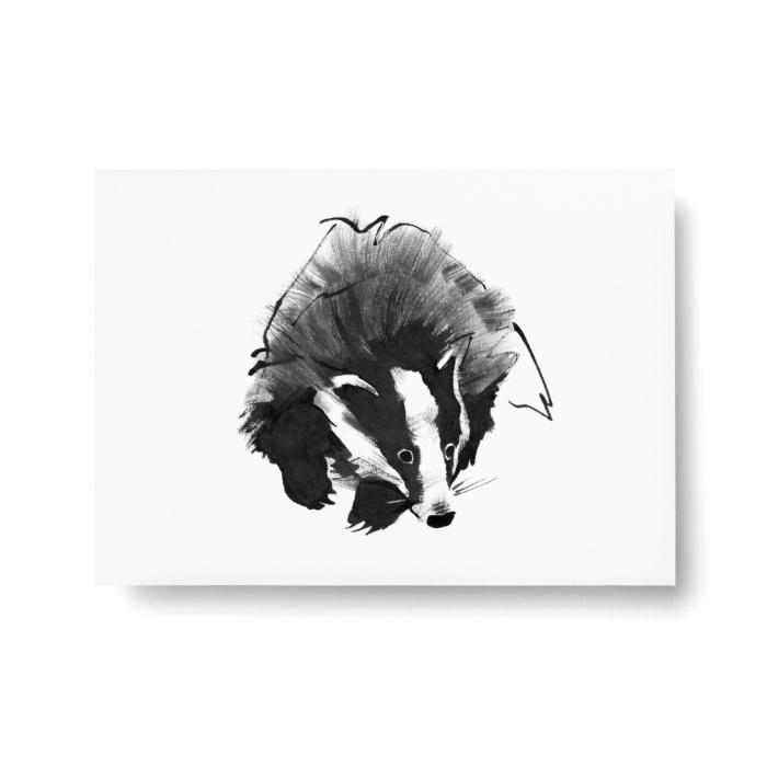 badger postcard art print by teemu jarvi