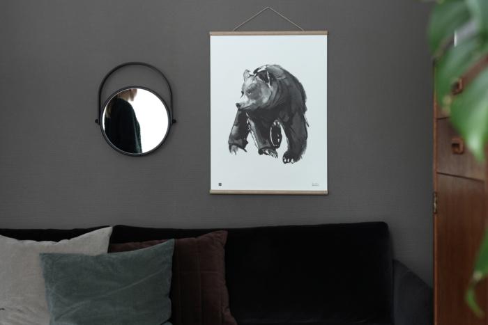 Black & white gentle bear poster