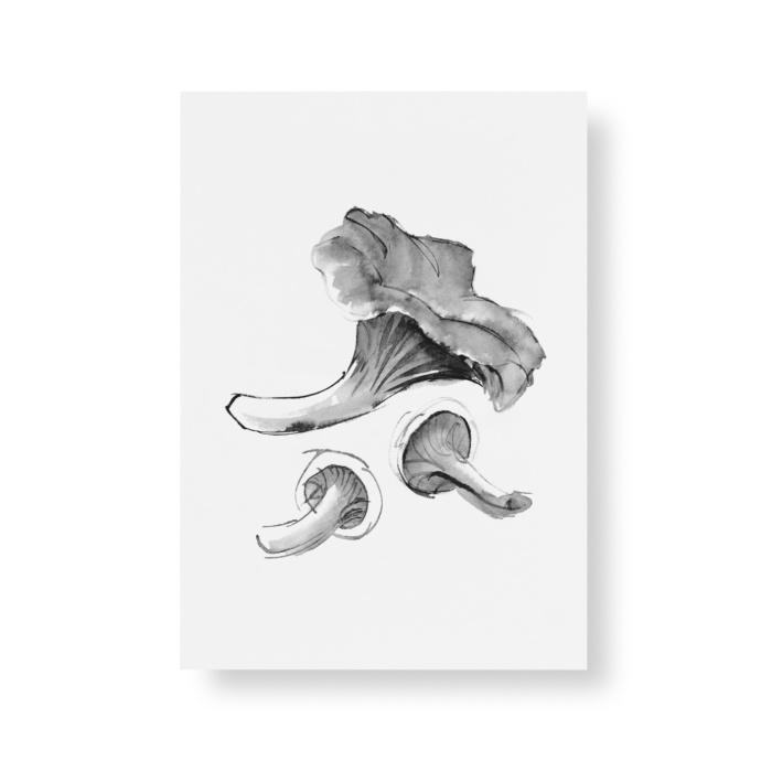 chantarelle mushroom postcard art print by teemu jarvi