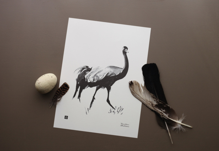 The Crane art print features a mysterious bird of luck!
