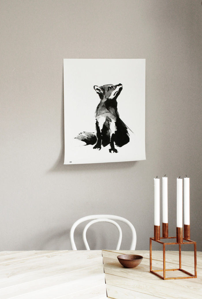 Black & white fox wall decor