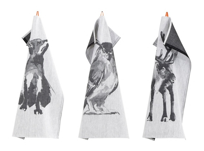 Fox, owl and reindeer kitchen towel