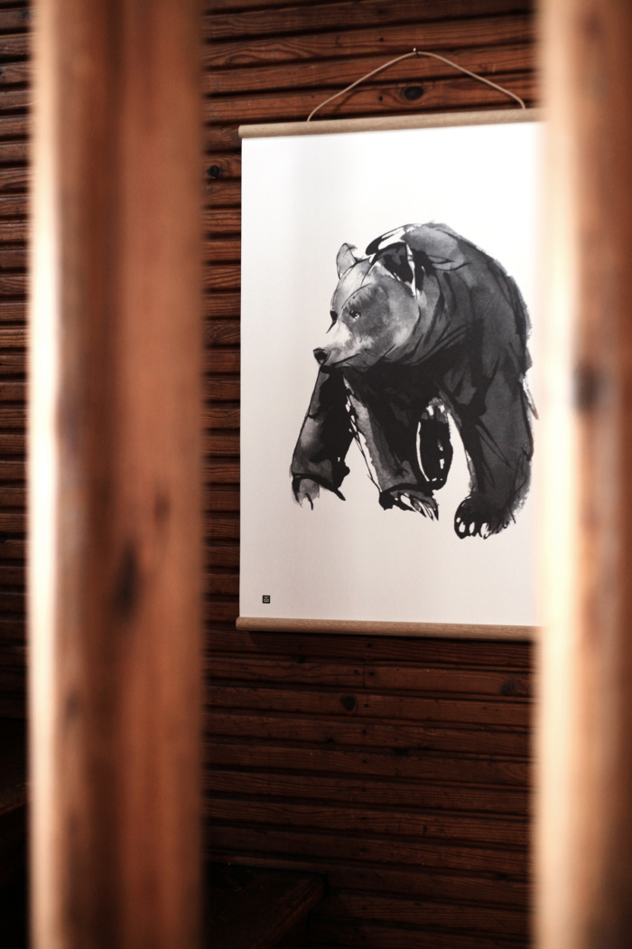 Black & white gentle bear framed print