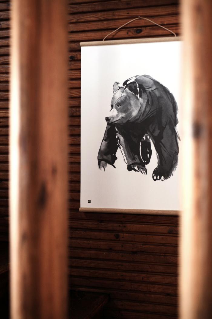 Black & white gentle bear framed print