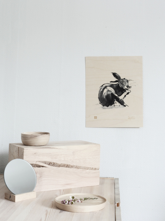 hare plywood poster art by teemu jarvi