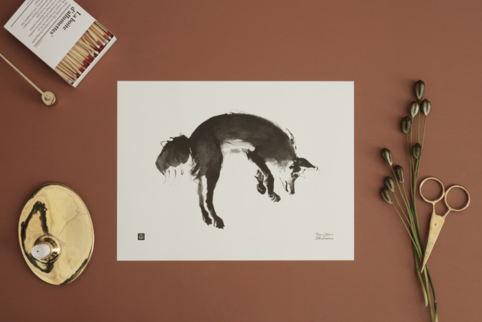 leaping fox art print poster