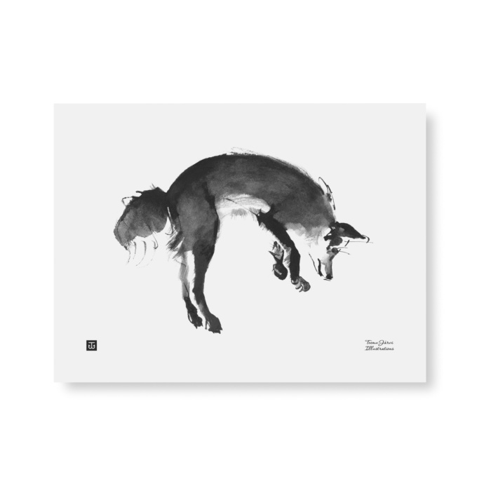 The stylish Leaping Fox art print features a fox jumping on snow.