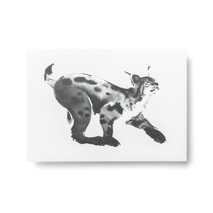 lynx forest greetings postcard art print by teemu jarvi