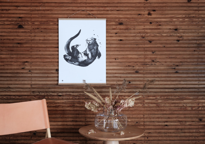 The playful Otter art poster brings joy to your interiors, to the summer cottage or childrens' room.