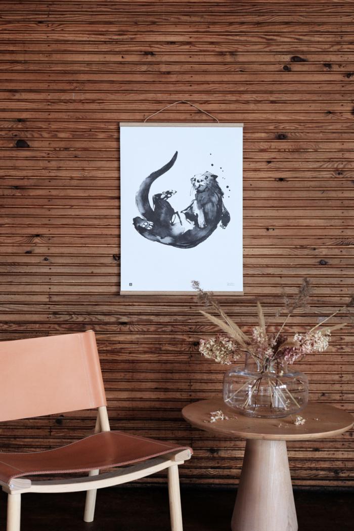 Black & white Otter art print