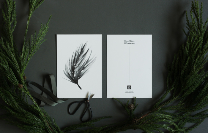 pine branch art print postcard set by teemu jarvi