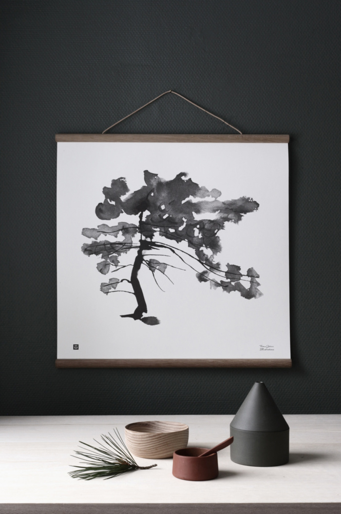 Black & white pine tree poster