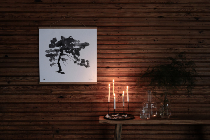 Black & white pine tree wall decor