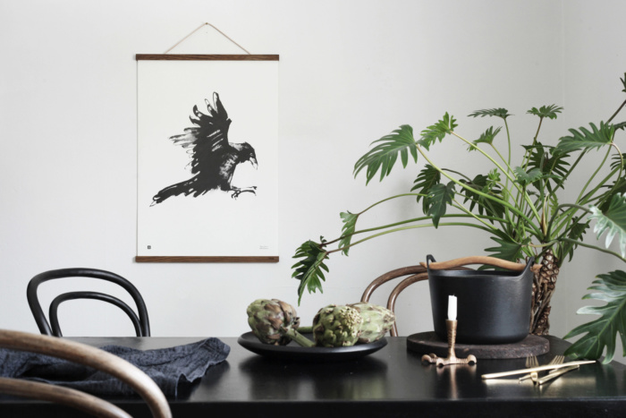 raven wall art with wooden frames
