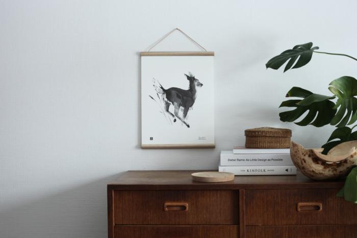 Black & white White tailed deer wall decor