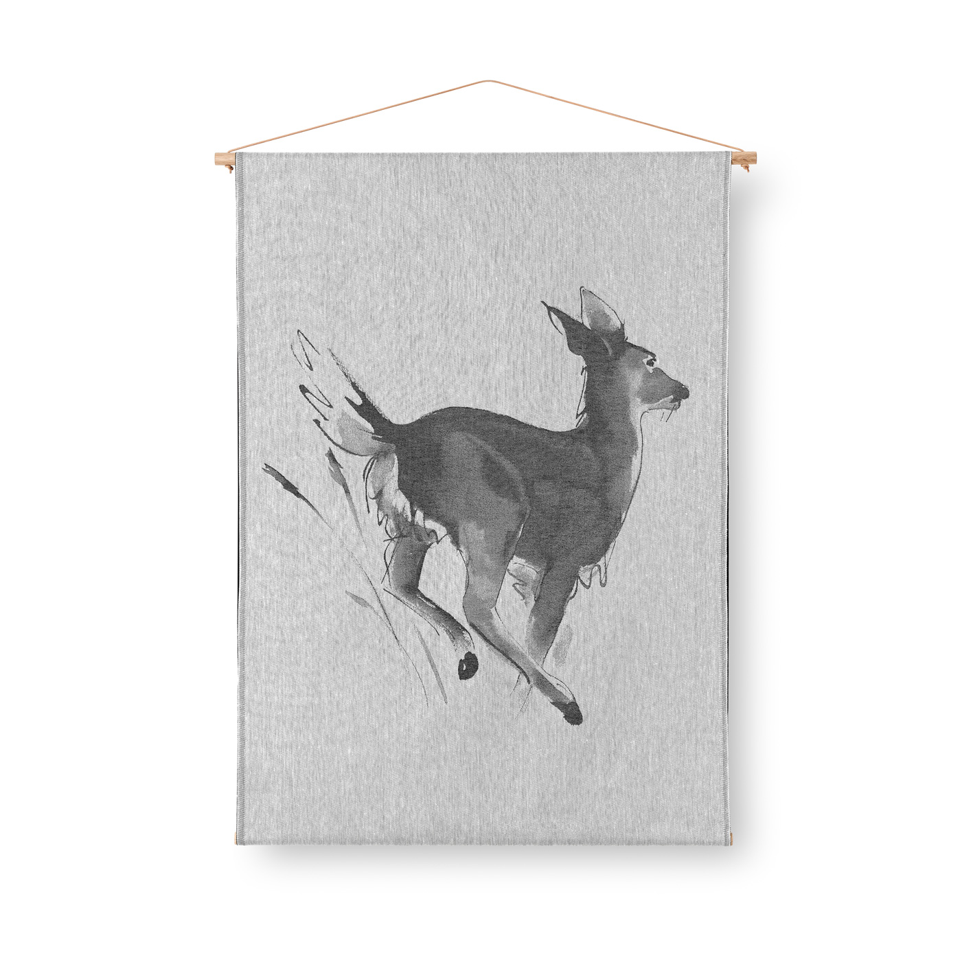 White-tailed deer art textile