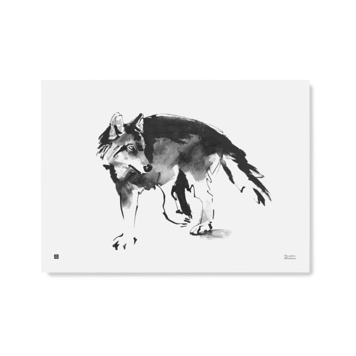 Black & white wolf poster