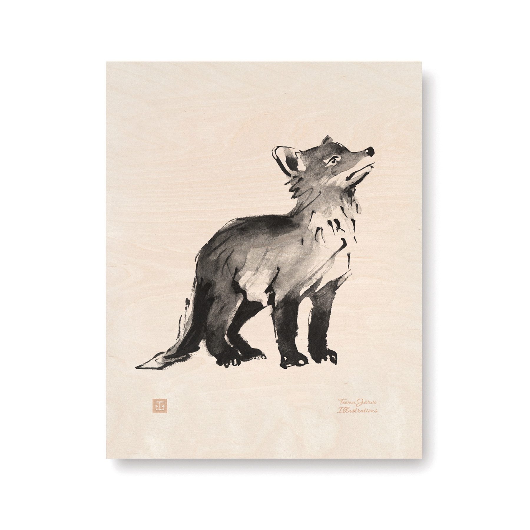 Fox cub plywood poster