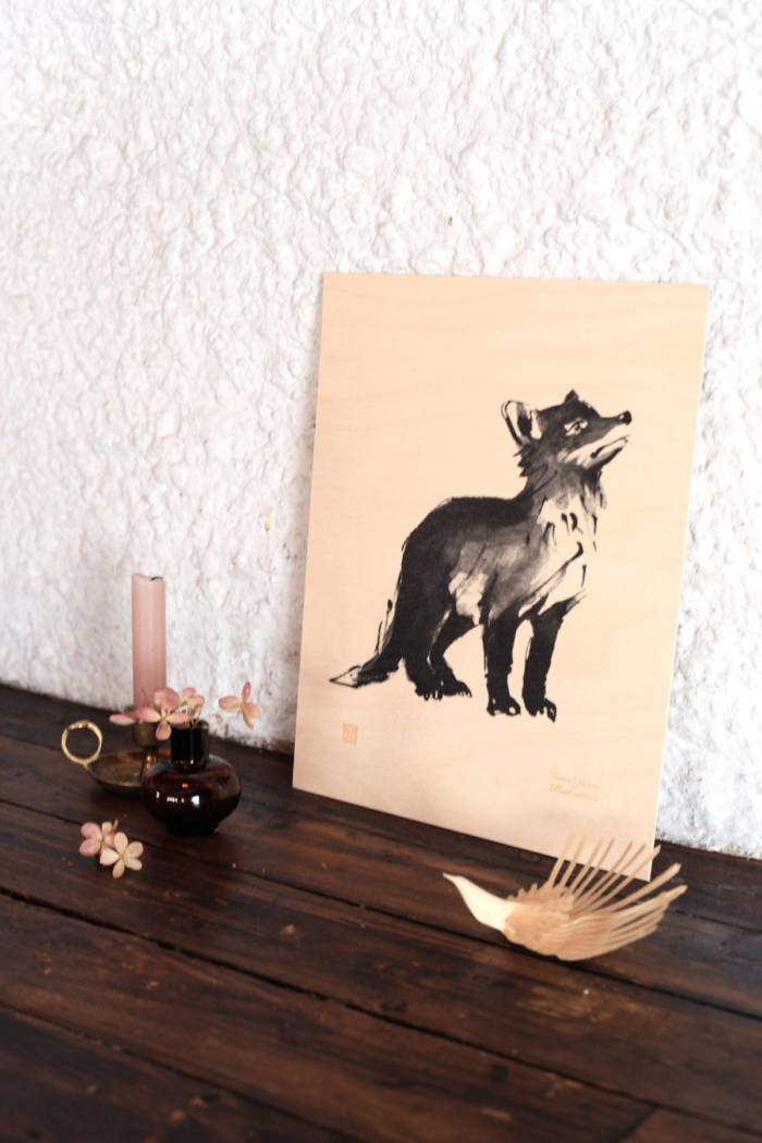 fox cub plywood art print