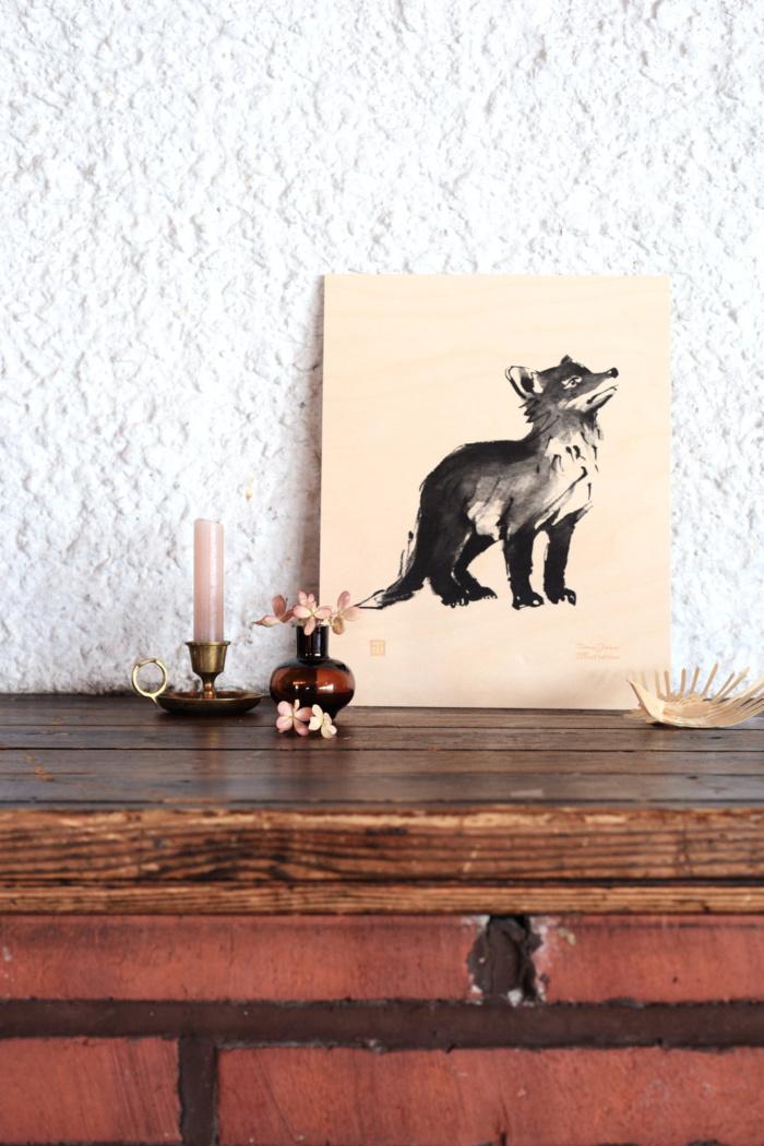 fox cub plywood art print poster by teemu jarvi