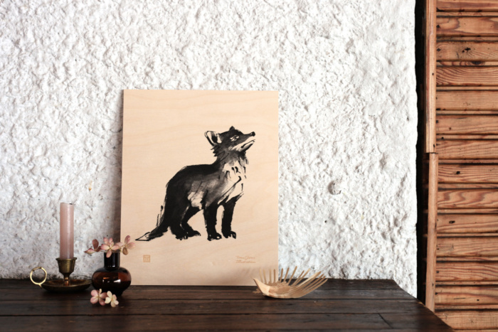 fox cub plywood art print poster