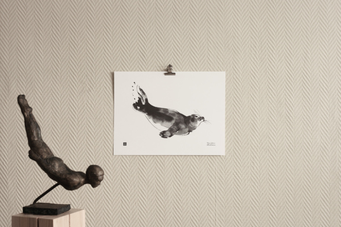 Black & White seal art print
