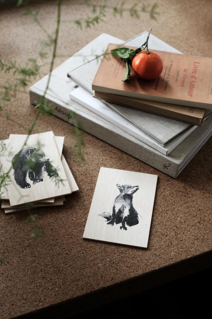 Fox and bear plywood art cards