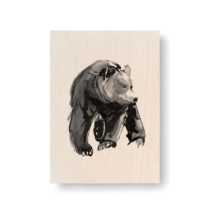 Gentle Bear plywood art postcard