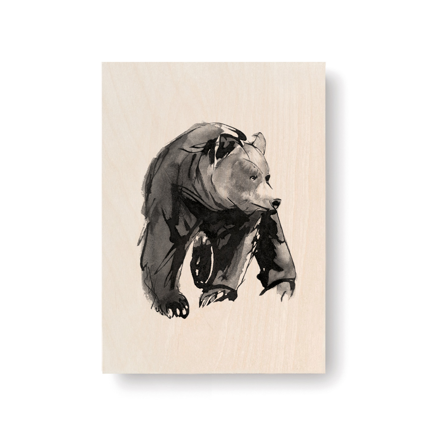Gentle bear plywood art card