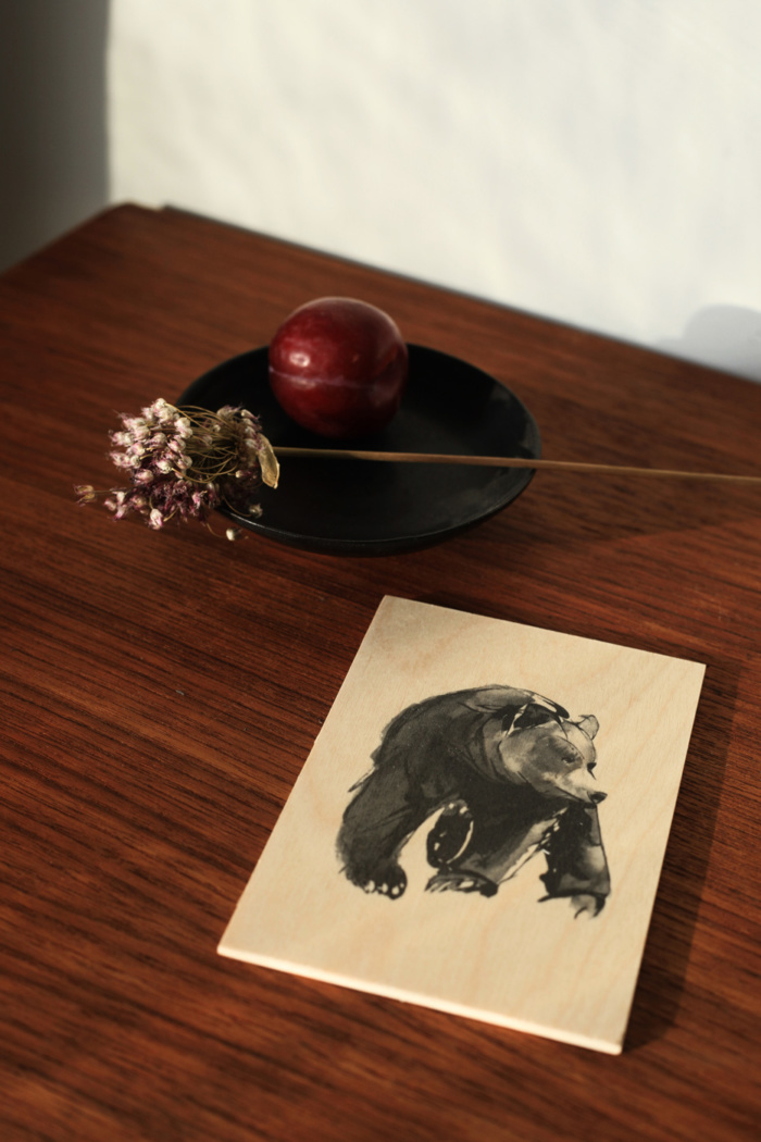 Gentle Bear birch plywood postcard
