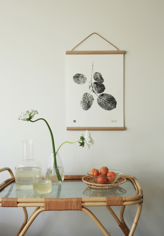 Black & White goat willow branch wall art with wooden frames