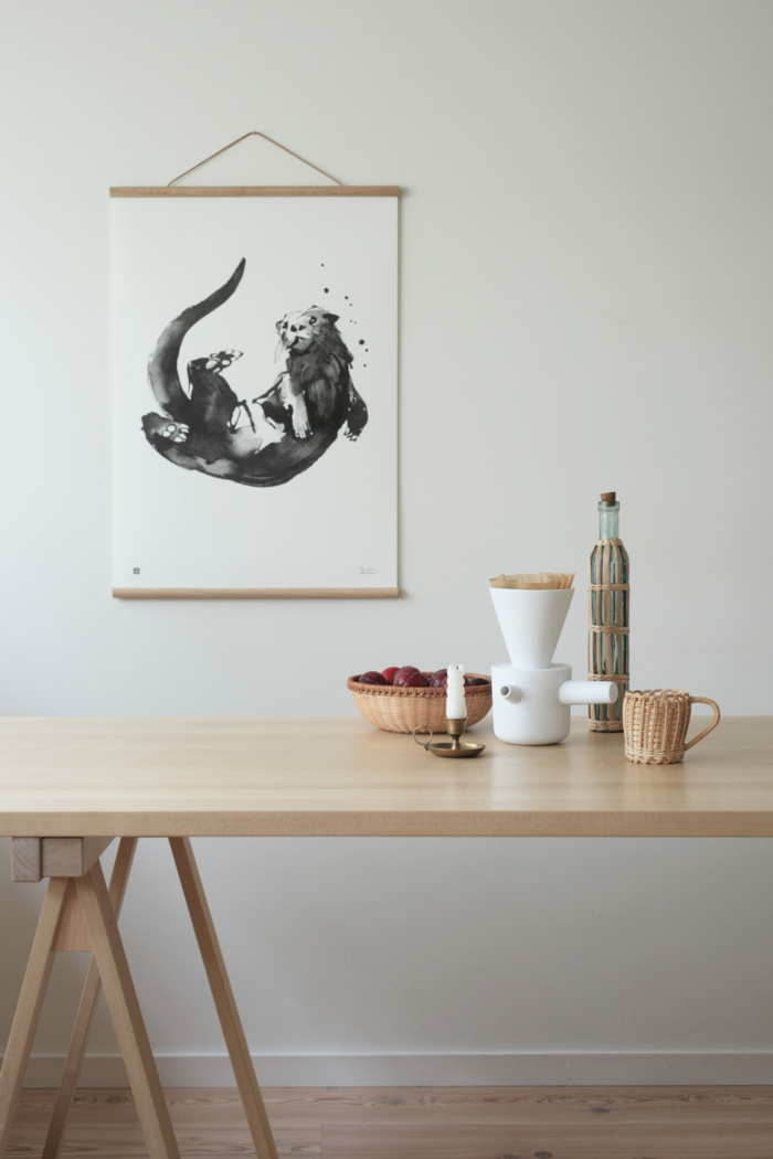 Black & White Otter wall art