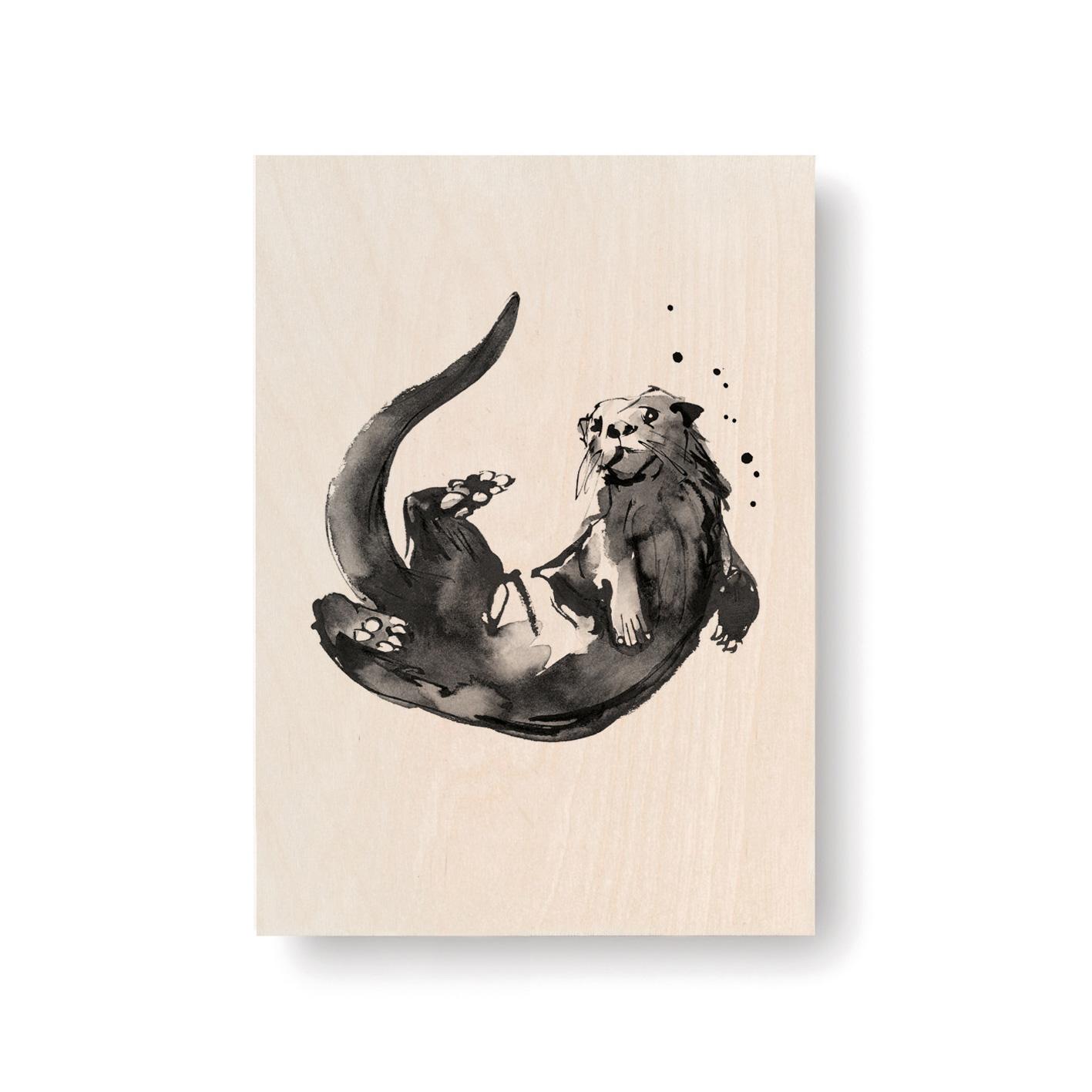 Otter plywood art card