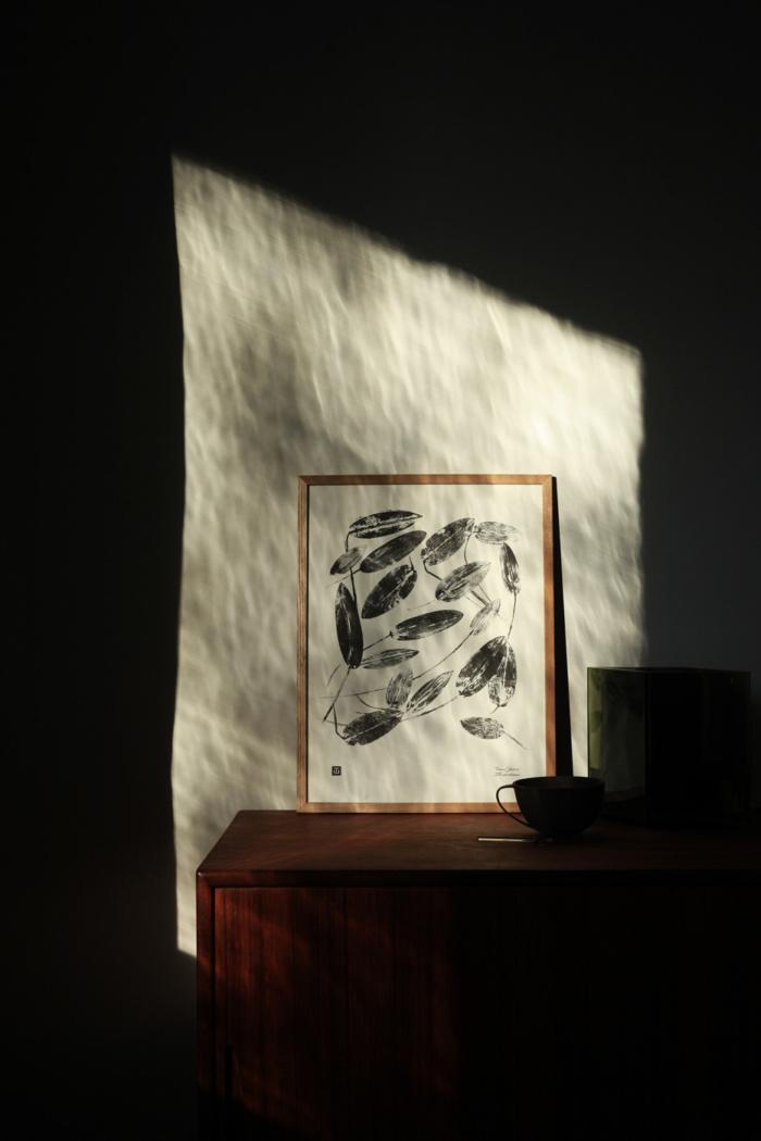 Black & white pondweed art print
