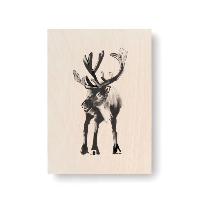 Reindeer plywood art card