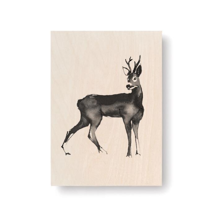 Roe deer plywood art card - wooden print - Teemu Järvi Illustrations