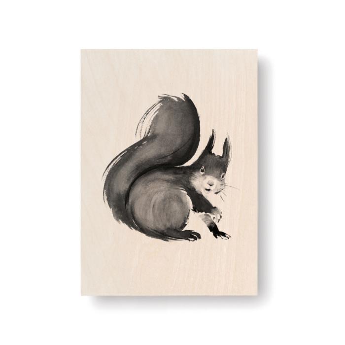 Squirrel plywood card