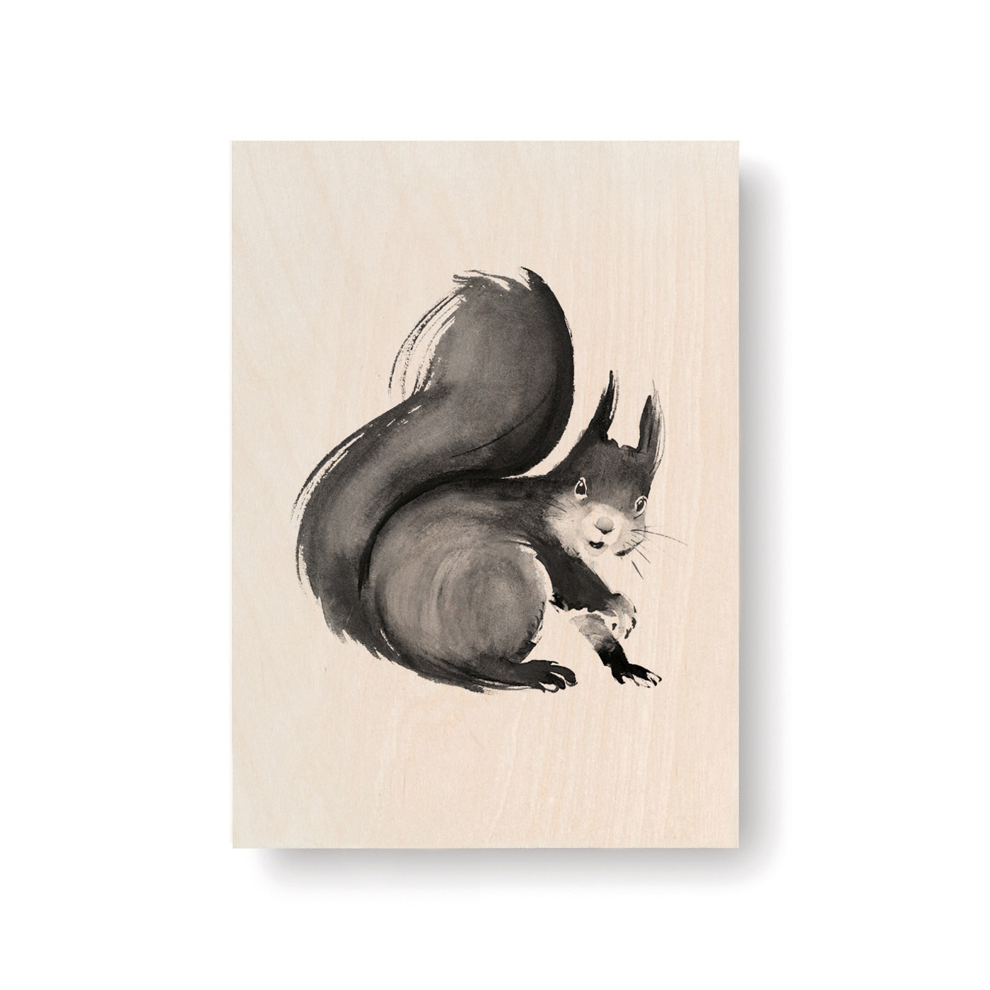 Squirrel plywood art card